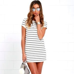 Lulus Cafe Society Striped Shirt Dress